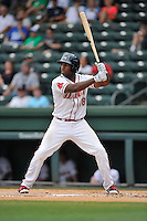 First baseman Josh Ockimey (18) of the Greenville Drive bats in a game against the Kannapolis Intimidators on Thursday, August 18, 2016 at Fluor Field at the West End in Greenville, South Carolina. (Tom Priddy/Four Seam Images)