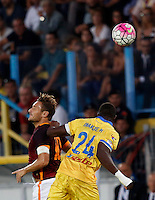 Calcio, Serie A: Frosinone vs Roma. Frosinone, stadio Comunale, 12 settembre 2015.<br /> Roma&rsquo;s Francesco Totti, left, and Frosinone&rsquo;s Mobido Diakite jump for the ball during the Italian Serie A football match between Frosinone and Roma at Frosinone Comunale stadium, 12 September 2015.<br /> UPDATE IMAGES PRESS/Riccardo De Luca