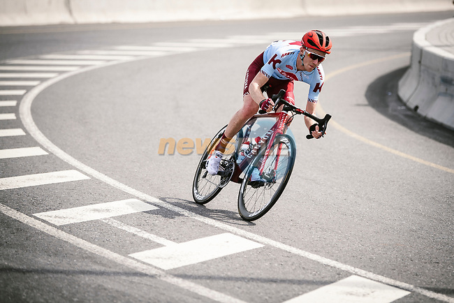 Ian Boswell (USA) Katusha Alpecin from the breakaway group descends during Stage 4 of 10th Tour of Oman 2019, running 131km from Yiti (Al Sifah) to Oman Convention and Exhibition Centre, Oman. 19th February 2019.<br /> Picture: ASO/P. Ballet | Cyclefile<br /> All photos usage must carry mandatory copyright credit (© Cyclefile | ASO/P. Ballet)
