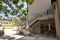 Photo of the Rose Hills Foundation Plaza outside the Student Activities Center of the Johnson Student Center, 2013.<br />
