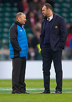 England's Head Coach Eddie Jones and Australia's Head Coach Michael Cheika chat before the match<br /> <br /> Photographer Bob Bradford/CameraSport<br /> <br /> 2018 Quilter Internationals - England v Australia - Saturday 24th November 2018 - Twickenham - London<br /> <br /> World Copyright &copy; 2018 CameraSport. All rights reserved. 43 Linden Ave. Countesthorpe. Leicester. England. LE8 5PG - Tel: +44 (0) 116 277 4147 - admin@camerasport.com - www.camerasport.com