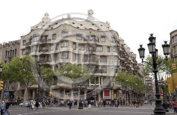 Barcelona-Spain - 15 April 2006---Casa Milà i Camps (Mila) - La Pedrera, built by Antoni Gaudí (Gaudi) 1906-1910---culture, architecture, tourism---Photo: Horst Wagner / eup-images