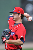 Starting pitcher Drew Anderson (28) of the Lakewood BlueClaws warms up before a game against the Greenville Drive on Sunday, June 26, 2016, at Fluor Field at the West End in Greenville, South Carolina. Greenville won, 2-1. (Tom Priddy/Four Seam Images)