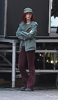 NEW YORK, NY-July 24:  Lily Collins shooting b-roll on location for Netflix & Plan B Enterainment  film Okja in New York. NY July 24, 2016. Credit:RW/MediaPunch