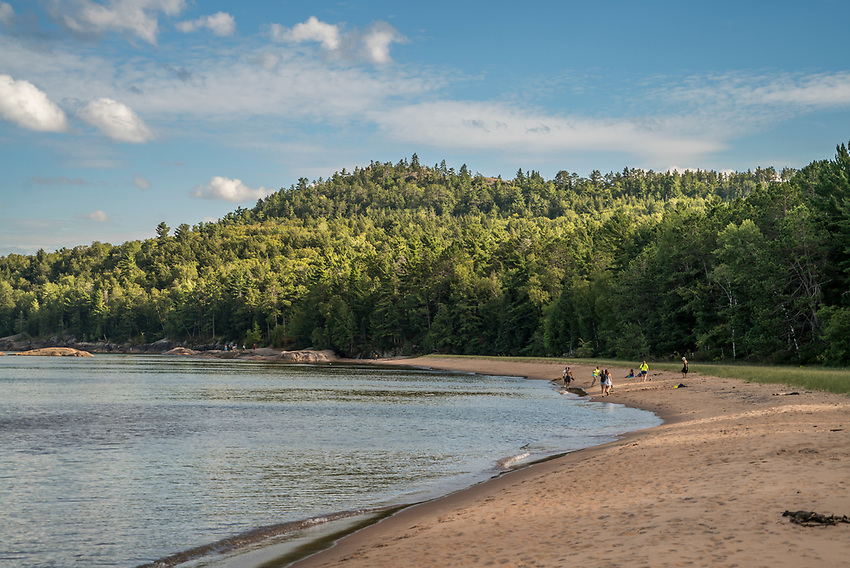 Lake Superior beach at Wetmore Landing in the shadow of Sugarloaf Mountain near Marquette, Michigan.