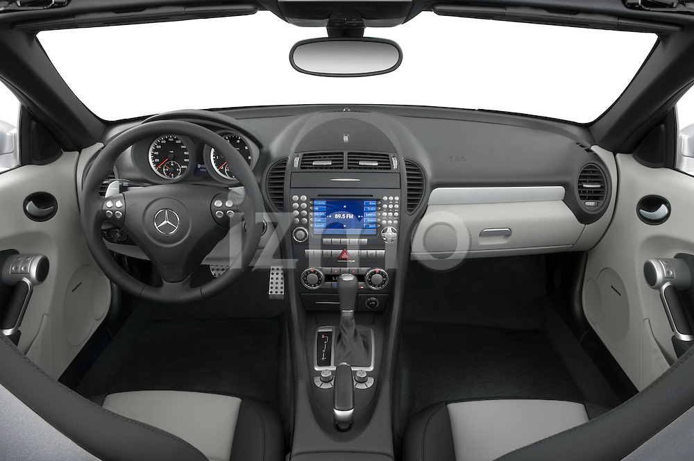 Straight angle dashboard view of a Mercedes Benz SLK Class sports car