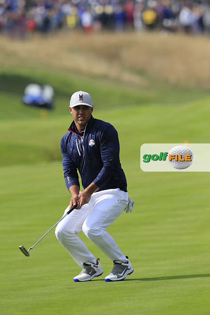 Brooks Koepka Team USA misses his putt to win the match on the 18th green during Friday's Fourball Matches at the 2018 Ryder Cup, Le Golf National, Iles-de-France, France. 28/09/2018.<br /> Picture Eoin Clarke / Golffile.ie<br /> <br /> All photo usage must carry mandatory copyright credit (© Golffile | Eoin Clarke)
