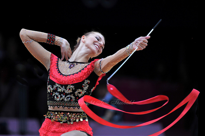 August 11, 2012; London, Great Britain;  JOANNA MITROSZ of Poland performs with ribbon during AA final at London 2012 Olympics.