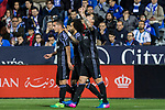 James Rodriguez and Marcelo Vieira of Real Madrid celebrates after scoring a goal during the match of  La Liga between Club Deportivo Leganes and Real Madrid at Butarque Stadium  in Leganes, Spain. April 05, 2017. (ALTERPHOTOS / Rodrigo Jimenez)