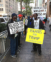 NEW YORK, NY - OCTOBER 30: Black Donald Trump supporters demonstrate in front of Trump Tower in New York, New York on October 30, 2016. Photo Credit: Rainmaker Photo/MediaPunch
