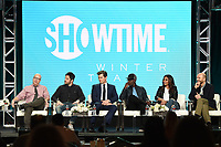 """PASADENA, CA - JANUARY 31: (L-R) Creators/Executive Producers Jordan Cahan and David Caspe, and Andrew Rannells, Don Cheadle, Regina Hall, and Paul Scheer of """"Black Monday"""" attend the Showtime portion of the 2019 Television Critics Association Winter Press Tour at the Langham Huntington on January 31, 2019, in Pasadena, California. (Photo by Frank Micelotta/PictureGroup)"""
