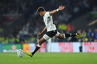Ben Volavola of Fiji takes a penalty attempt during Match 1 of the Rugby World Cup 2015 between England and Fiji - 18/09/2015 - Twickenham Stadium, London <br /> Mandatory Credit: Rob Munro/Stewart Communications