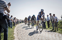 Tom Boonen (BEL/Quick-Step Floors) on the Warlaing to Brillon sector<br /> <br /> 115th Paris-Roubaix 2017 (1.UWT)<br /> One Day Race: Compiègne › Roubaix (257km)