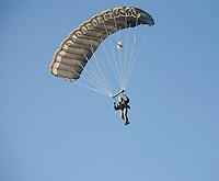 Parachutist descends gently having jumped from a hot air balloon.