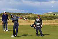 Kevin Pieterson (AM) playing with Bernd Wiesberger (AUT) on the 16th during Round 3 of the Alfred Dunhill Links Championship 2019 at St. Andrews Golf CLub, Fife, Scotland. 28/09/2019.<br /> Picture Thos Caffrey / Golffile.ie<br /> <br /> All photo usage must carry mandatory copyright credit (© Golffile | Thos Caffrey)
