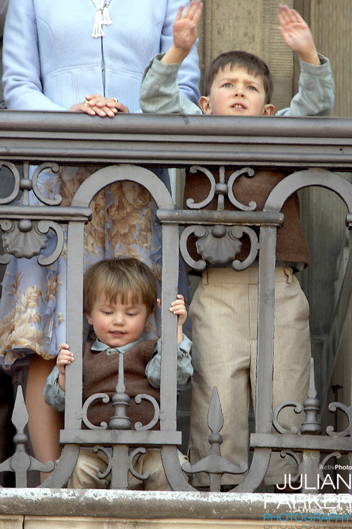 Prince's Nikolai & Felix appear on the balcony of The Amalienborg Palace in Copenhagen to celebrate The Queen of Denmark's 64th birthday.