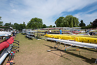 "Henley on Thames, United Kingdom, 23rd June 2018, Saturday,   ""Henley Women's Regatta"",  view, Various Rowing Boats racked and stored on Fawley Meadow, Henley Reach, River Thames, England, © Peter SPURRIER/Alamy Live News"
