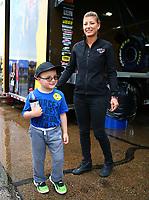May 19, 2017; Topeka, KS, USA; NHRA top fuel driver Leah Pritchett during qualifying for the Heartland Nationals at Heartland Park Topeka. Mandatory Credit: Mark J. Rebilas-USA TODAY Sports