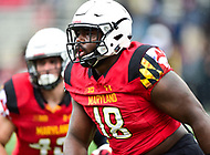 College Park, MD - APR 22, 2016: Maryland Terrapins defensive lineman Cavon Walker (18) is pumped following a tackle in the backfield during the 2017 Spring game at Capital One Field at Maryland Stadium in College Park, MD. (Photo by Phil Peters/Media Images International)