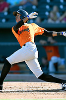 Center fielder Johneshwy Fargas (2) of the Augusta GreenJackets bats in a game against the Columbia Fireflieon Sunday, July 30, 2017, at Spirit Communications Park in Columbia, South Carolina. Augusta won, 6-0. (Tom Priddy/Four Seam Images)