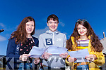 TOP HONOURS: It was top results for Mairead Kearney, Michael Moynihan and Diana Meriakri in Mercy Mounthawk Secondary Tralee on Wednesday morning.