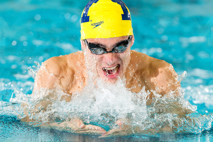 The University of Michigan men's swimming and diving team opened the 2013-14 season winning 15 of 16 events in a 182-110 victory over Iowa at Canham Natatorium in Ann Arbor, Mich.