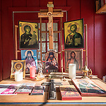 An altar at St. Silhouan Monastery, Columbia, California.