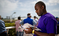 HALLANDALE BEACH, FL - JANUARY 27: A man reads the program before a race on Pegasus World Cup Invitational Day at Gulfstream Park Race Track on January 27, 2018 in Hallandale Beach, Florida. (Photo by Scott Serio/Eclipse Sportswire/Getty Images)