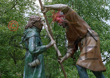 Robin Hood fights Friar Tuck in Sherwood Forest