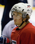 James vanRiemsdyk (US White - 21) - US players take part in practice on Friday morning, August 8, 2008, in the NHL Rink during the 2008 US National Junior Evaluation Camp and Summer Hockey Challenge in Lake Placid, New York.