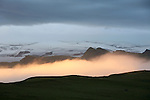 Coucher de soleil sur glacier dans le sud de l Islande...