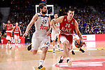 Real Madrid's Sergio Llull and EA7 Emporio Armani Milan's Andrea Cinciarini during Turkish Airlines Euroleage match between Real Madrid and EA7 Emporio Armani Milan at Wizink Center in Madrid, Spain. January 27, 2017. (ALTERPHOTOS/BorjaB.Hojas)