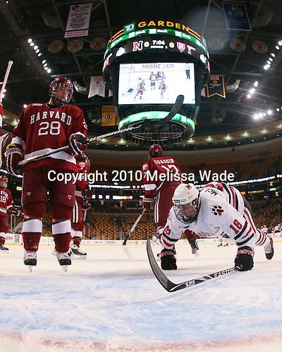 Chris Huxley (Harvard - 28), Mike McLaughlin (NU - 18) - The Northeastern University Huskies defeated the Harvard University Crimson 4-1 (EN) on Monday, February 8, 2010, at the TD Garden in Boston, Massachusetts, in the 2010 Beanpot consolation game.