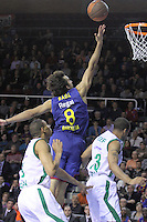 20.03.2012 Barcelona, Spain. Euroleague Playoff game 1. Picture show Victor Sada in action during match between FC Barcelona Regal against Unics Kazan at Palau Blaugrana
