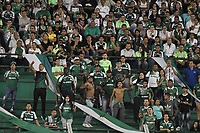 PALMIRA - COLOMBIA, 17-04-2019: Hinchas del Cali animan a su equipo durante partido por la fecha 16 de la Liga Águila I 2019 entre Deportivo Cali y Atlético Junior jugado en el estadio Deportivo Cali de la ciudad de Palmira. / Fans of Cali cheer for their team during match for the date 16 as part Aguila League I 2019 between Deportivo Cali and Atletico Junior at Deportivo Cali stadium in Palmira city.  Photo: VizzorImage / Gabriel Aponte / Staff