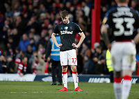 8th February 2020; Griffin Park, London, England; English Championship Football, Brentford FC versus Middlesbrough; A dejected Paddy McNair of Middlesbrough hands on hips after the final whistle  - Strictly Editorial Use Only. No use with unauthorized audio, video, data, fixture lists, club/league logos or 'live' services. Online in-match use limited to 120 images, no video emulation. No use in betting, games or single club/league/player publications