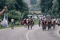 Tony Martin (DEU/Katusha-Alpecin) piloting the peloton through the feedzone<br /> <br /> stage 20: Susa - Cervinia (214km)<br /> 101th Giro d'Italia 2018