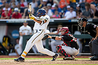 Michigan Wolverines outfielder Jordan Brewer (22) swings the bat during Game 1 of the NCAA College World Series against the Texas Tech Red Raiders on June 15, 2019 at TD Ameritrade Park in Omaha, Nebraska. Michigan defeated Texas Tech 5-3. (Andrew Woolley/Four Seam Images)