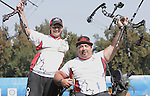 November 17 2011 - Guadalajara, Mexico:  Kevin Evans and Robert Hudson after competing against each other in the Men's Individual Compound gold medal match in the Archery Stadium at the 2011 Parapan American Games in Guadalajara, Mexico.  Photos: Matthew Murnaghan/Canadian Paralympic Committee