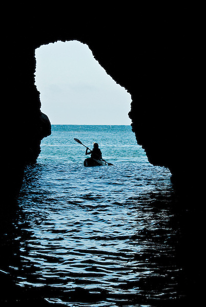 Kayaking Caves at Sata Cruz Island, one of the five Channel Islands off the California Coast
