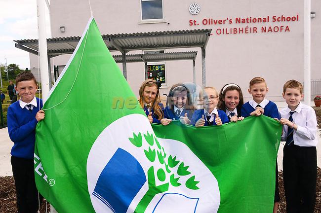 The Green School Committee of St. Joseph's School, Ballymakenny Road at their green flag ceremony: Sean Hughes, Abi Collier Stroeber, Sarah Flanagan, Kandra O'Rourke, Sophie Rock, Flynn Richardson and Joshua Meade.