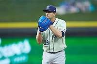Wilmington Blue Rocks starting pitcher Marcelo Martinez (19) looks to his catcher for the sign against the Winston-Salem Dash at BB&T Ballpark on April 17, 2019 in Winston-Salem, North Carolina. The Blue Rocks defeated the Dash 2-1. (Brian Westerholt/Four Seam Images)