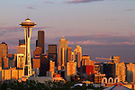 The Seattle skyline as the sun sets