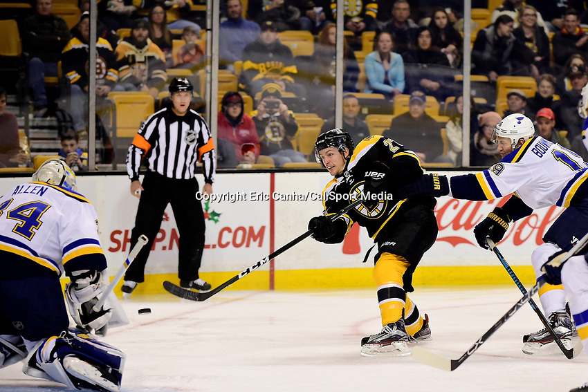 Tuesday, November 22, 2016: Boston Bruins center Austin Czarnik (27) takes a shot at St. Louis Blues goalie Jake Allen (34) during the National Hockey League game between the St. Louis Blues and the Boston Bruins held at TD Garden, in Boston, Mass. The Blues defeat the Bruins 4-2. Eric Canha/CSM