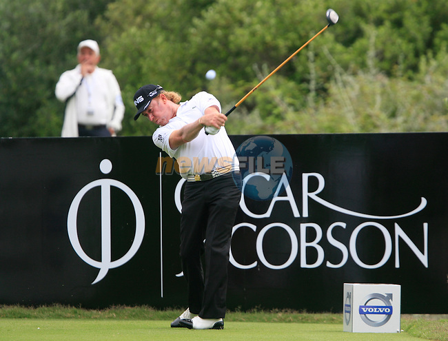 Miguel Angel Jimenez (ESP) tees off at the 9th tee during Day 2 of the Volvo World Match Play Championship in Finca Cortesin, Casares, Spain, 20th May 2011. (Photo Eoin Clarke/Golffile 2011)