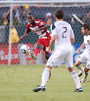 CARSON, CA – OCTOBER 24: FC Dallas midfielder Atiba Harris during a soccer match at the Home Depot Center, October 24, 2010 in Carson, California. Final score LA Galaxy 2, Dallas FC 1.