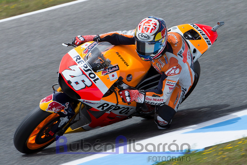 Dani Pedrosa during the free practice in Motorcycle Championship GP, in Jerez, Spain. April 22, 2016