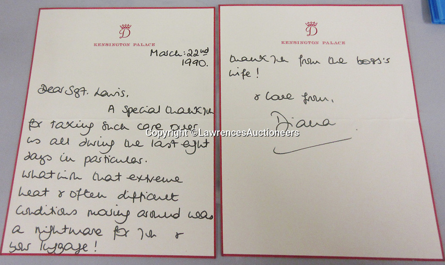 BNPS.co.uk (01202 558833)<br /> Pic: LawrencesAuctioneers/BNPS<br /> <br /> PICTURED: Diana's letter to Sgt Lewis<br /> <br /> A heartwarming letter by Princess Diana revealing a young William and Harry's excitement for Christmas has come to light.<br /> <br /> The then Princess of Wales described how the two boys were 'thrilled that Christmas was on the horizon'.<br /> <br /> She went on to tell how the young princes had 'searched high and low' around Kensington Palace for their presents.<br /> <br /> In the same letter Diana also displayed the compassion and empathy that she was famous for towards recipient Ivy Woodward.