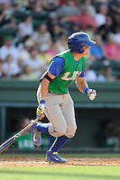 Catcher Chad Johnson (7) of the Lexington Legends bats in a game against the Greenville Drive on Sunday, April 27, 2014, at Fluor Field at the West End in Greenville, South Carolina. Greenville won, 21-6. (Tom Priddy/Four Seam Images)