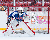 Nico Lynch (BU - 1)<br />  - The Boston University Terriers practiced on the rink at Fenway Park on Friday, January 6, 2017.The Boston University Terriers practiced on the rink at Fenway Park on Friday, January 6, 2017.